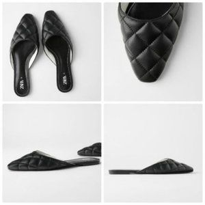 ZARA Square Toe Quilted Mules NWT